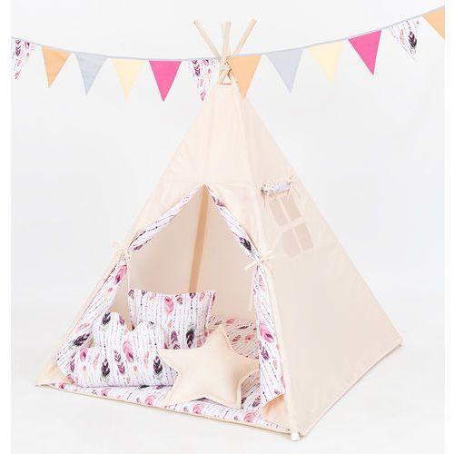 namiot tipi z matą i poduszkami beż / piórka burgund marki Mamo-tato
