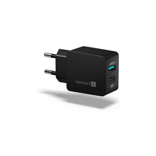 Ładowarka do sieci Connect IT Fast Charge 1x USB + 1x USB-C, 3,4A s funkcí rychlonabíjení (CWC-2030-BK) Czarny