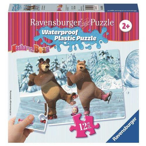 Ravensburger Puzzle plastikowe 12 elementów. masza i niedźwiedź. święto na lodzie + zakładka do książki gratis (4005556056064)