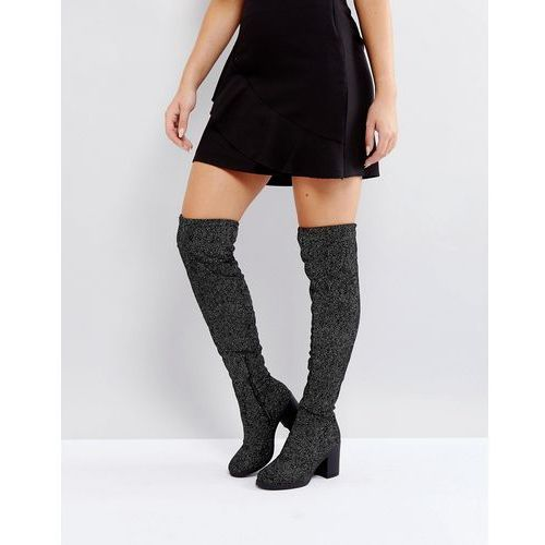 chunky heel stretch over knee boot - silver marki Truffle collection