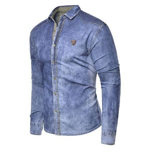 Koszula męska jeansowa długi rękaw rl15 - niebieska, jeans