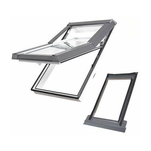 Dobroplast Okno dachowe skylight premium 78x140 białe + kołnierz płaski zestaw
