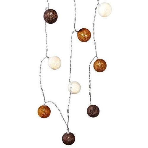 """Lampki led """"cotton balls"""", brązowe, 10 części brązowo-beżowy marki Bonprix"""