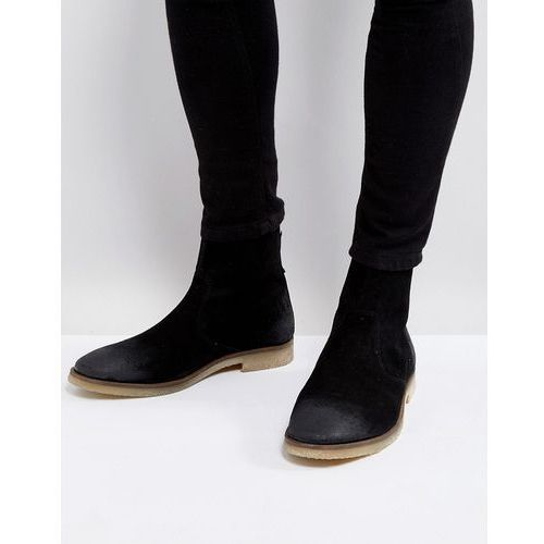 chelsea boots in black suede with back zip detail with natural sole - black, Asos