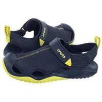 Crocs Sandały swiftwater mesh deck sandal navy/citrus 205289-42k (cr171-c)