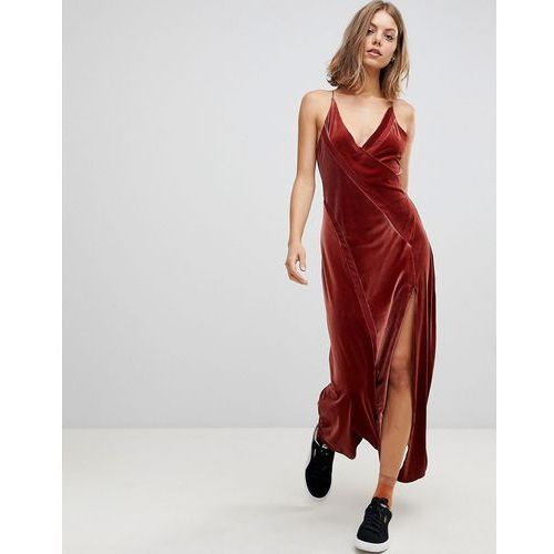 Free people spliced velvet maxi dress - red