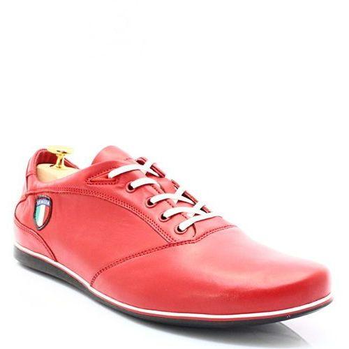 511i czerwone - skórzane buty męskie sportowe casual - czerwony, Kent