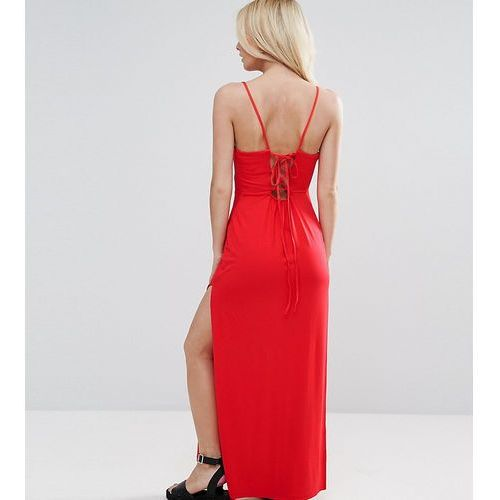 ASOS PETITE Lace Up Back Maxi Dress - Red