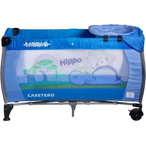 Caretero Łóżeczko turystyczne safari hippo niebieski + darmowy transport! (5902021521562)