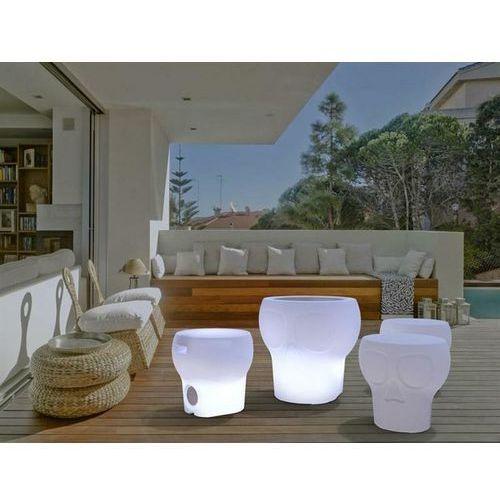 New garden stołek calvin solar bialy - led, sterowanie pilotem