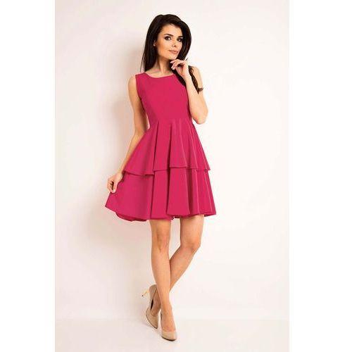 Awama Różowa elegancka rozkloszowana sukienka z baskinką