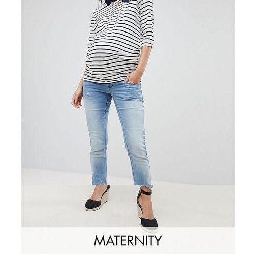 Mamalicious Over The Bump Slim Jeans - Blue, kolor niebieski
