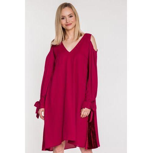 Bordowa sukienka z szyfonu - SU, kolor czerwony