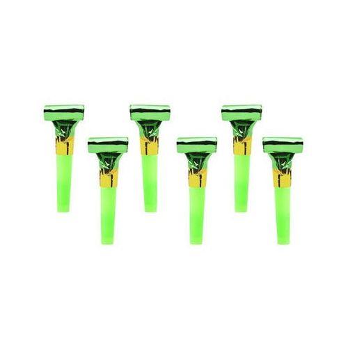 Gwizdki trąbki rozwijane holograficzne zielone - 6 szt marki Party deco