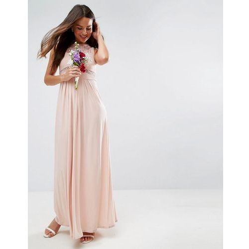 ASOS DESIGN Bridesmaid lace top pleated maxi dress - Pink, kolor różowy