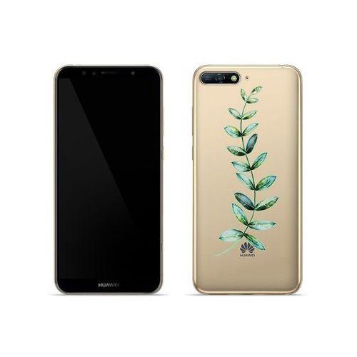 Huawei Y6 (2018) - etui na telefon Crystal Design - Zielona gałązka