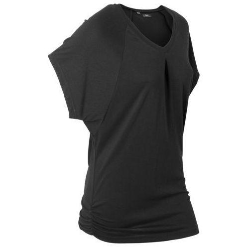 """T-shirt """"wellness"""" z krótkimi rękawami typu nietoperz czarny, Bonprix, 36-58"""