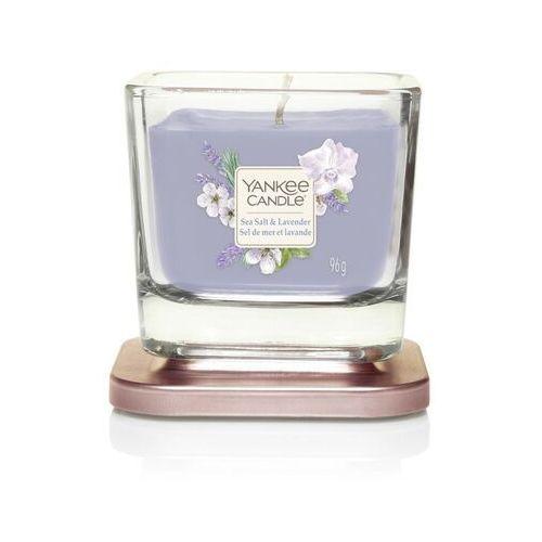 Mała kwadratowa świeca z jednym knotem sea salt & lavender marki Yankee candle