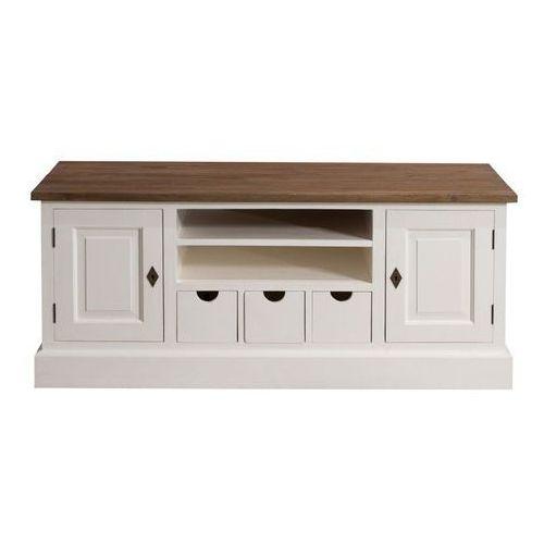Dekoria szafka rtv brighton 150cm white&natural, 150 × 65 × 55 cm
