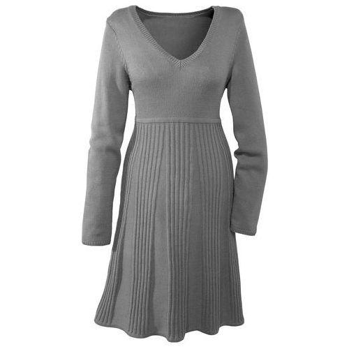 Sukienka dzianinowa  szary melanż, Bonprix, 36-50