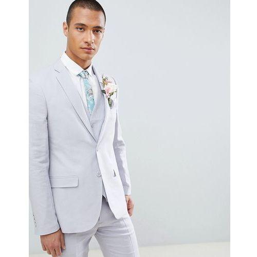 wedding linen slim fit suit jacket - grey marki French connection