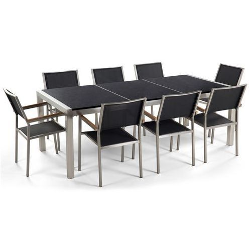 Beliani Meble ogrodowe - stół granitowy czarny polerowany 220 cm z 8 czarnymi krzesłami - grosseto