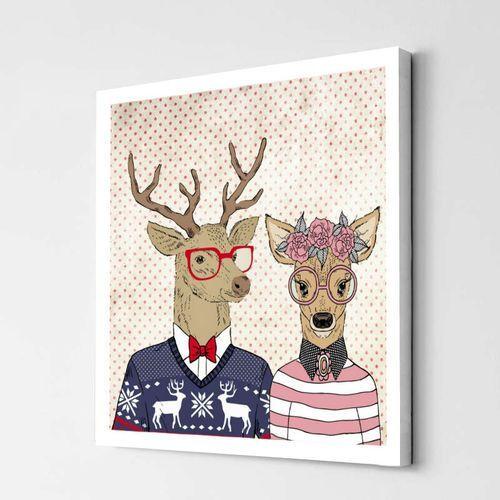 Hipsterskie Jelenie. Obraz z jelonkami. Zakochane jelenie. Obrazy z jeleniami. Jelenie na obrazie.