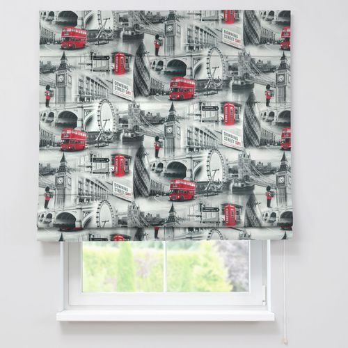 roleta rzymska capri, szare motywy londynu, szer.160 x dł.170 cm, comics marki Dekoria