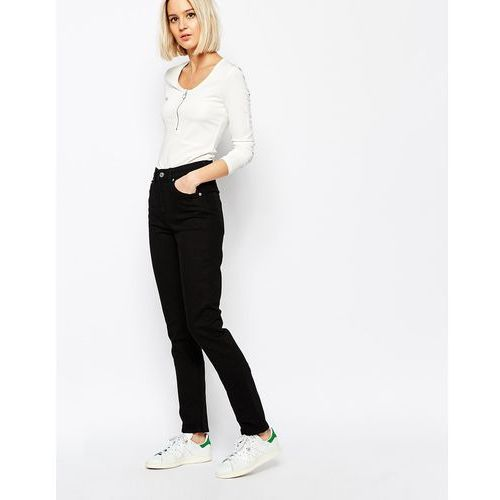 way high waist slim leg jeans - black marki Weekday