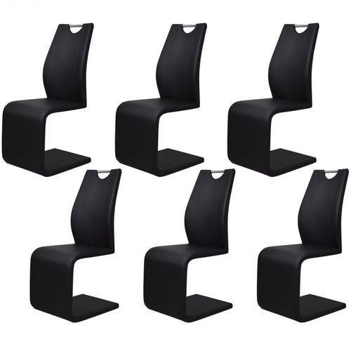 Krzesła wspornikowe, 6 szt., sztuczna skóra, czarne, kolor czarny