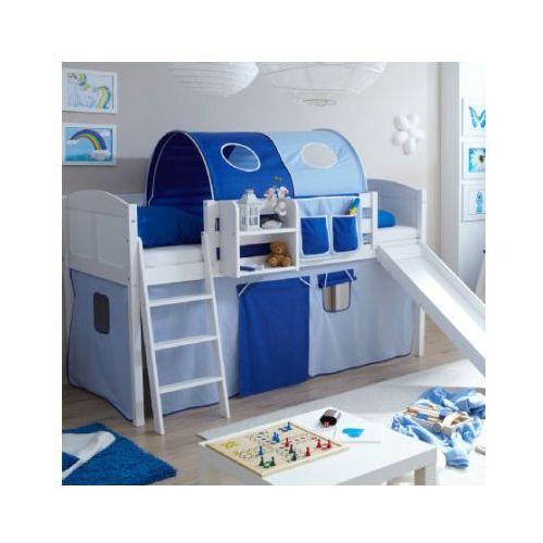 TICAA Łóżko ze zjeżdżalnią EKKI sosna white Country kolor jasnoniebieski/ciemnoniebieski (4250393873392)
