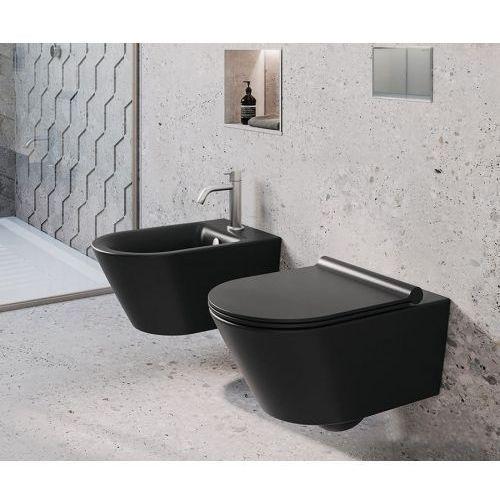 Misa wc oraz bidet lorena black z serii rimless marki Swiss liniger