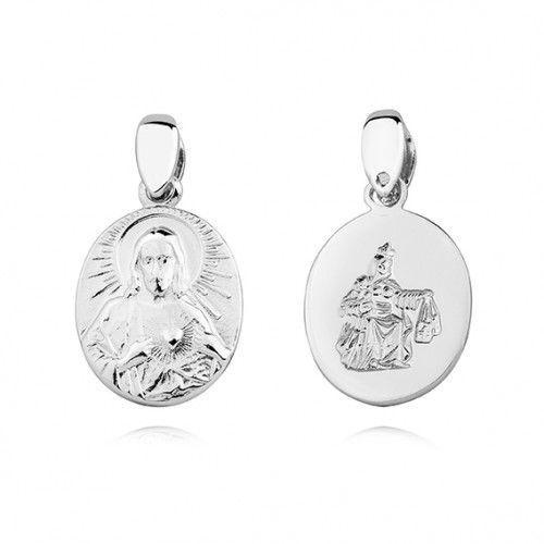 Srebrny medalik Jezus i Matka Boska Szkaplerzna, KS0189C