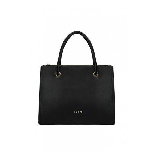 Czarna, klasyczna torebka ze skóry ekologicznej - marki Nobo