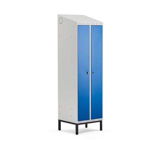 Szafa ubraniowa CLASSIC COMBO, na nóżkach, 2 drzwi, 2100x600x550 mm, niebieski