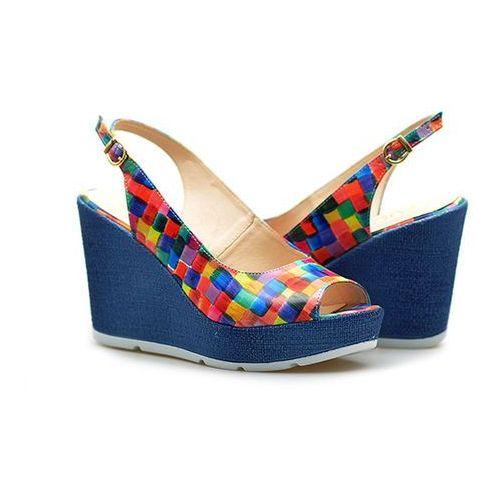 Sandały 238 multi kratka/ wielokolorowe lico marki Arturo