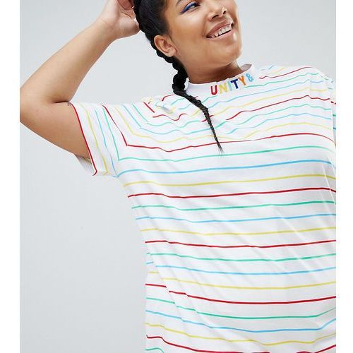 ASOS DESIGN x glaad& Curve t-shirt with high neck and embroidery - White