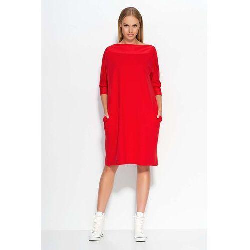 Czerwona Sukienka Oversizowa Midi z Rękawem 3/4, DM317re