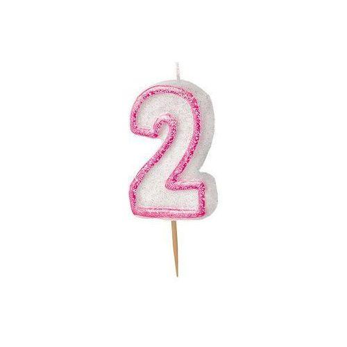 Brokatowa świeczka cyferka dwójka 2 różowa - 1 szt.