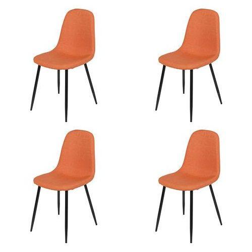 Zestaw 4 krzeseł w kolorze pomarańczowym stalowe nogi - cilla marki Qazqa