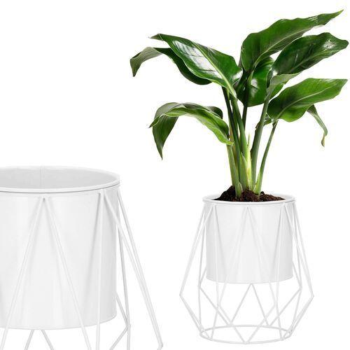 Stojak na kwiaty 26,5 cm z doniczką nowoczesny kwietnik loft biały mat marki Springos