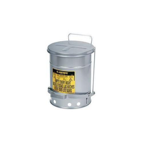 Justrite Bezpieczny pojemnik na odpady soundgard™,lakierowany na kolor srebrny, ciche zamykanie