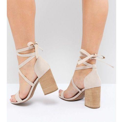 Asos design travis wide fit tie leg heeled sandals - beige