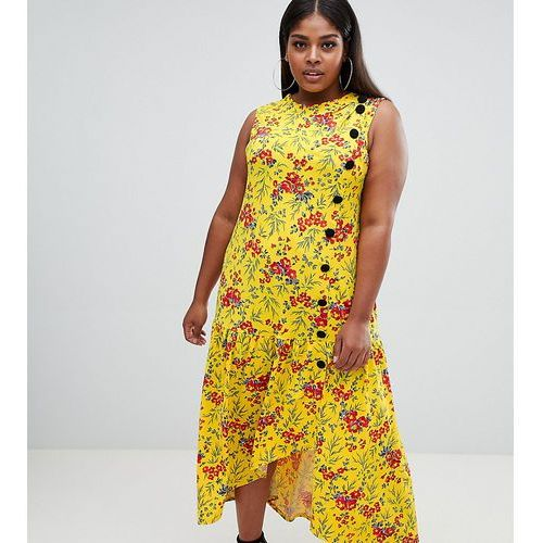 Asos design curve maxi tea dress with dropped hem and contrast buttons in floral print - multi marki Asos curve