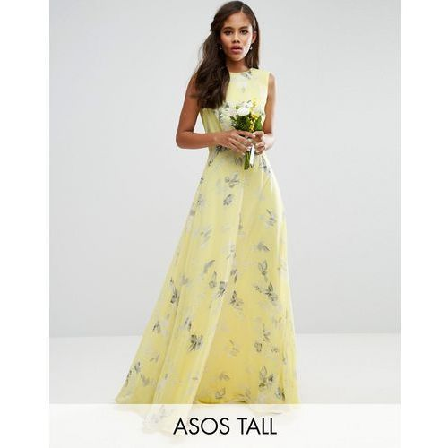 ASOS TALL Wedding Maxi Dress in Sunshine Floral Print - Yellow