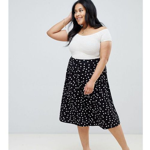 Asos design curve midi skirt with box pleats in polka dot - multi marki Asos curve