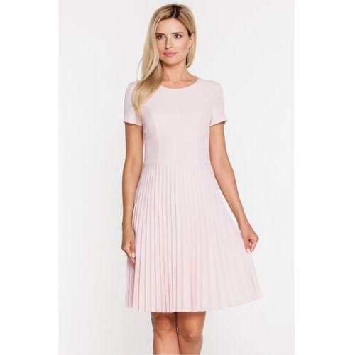 Różowa sukienka z plisowanym dołem - Bialcon, plisowana