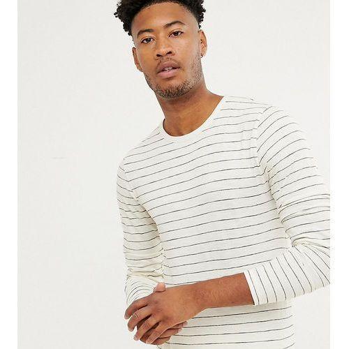 tall striped long sleeve cotton slub top - white, D-struct, XS-M