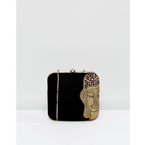 hand embellished box clutch bag - black marki Park lane