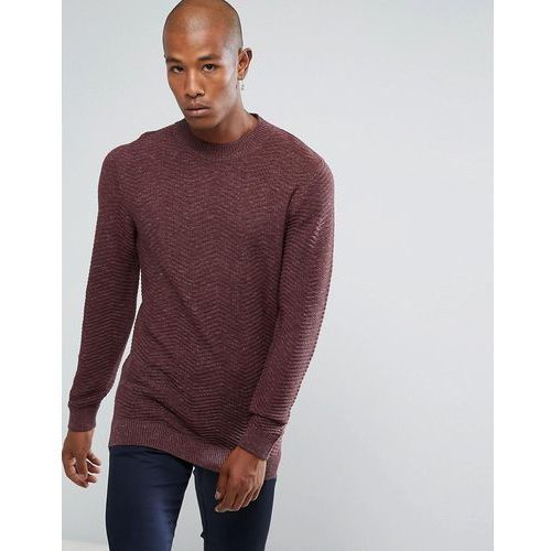 knitted jumper with texture detail in 100% cotton - red, Selected homme